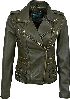 Smart Range Ladies Mystique Washed Olive Green Retro Motorcycle Designer Leather Jacket 7113