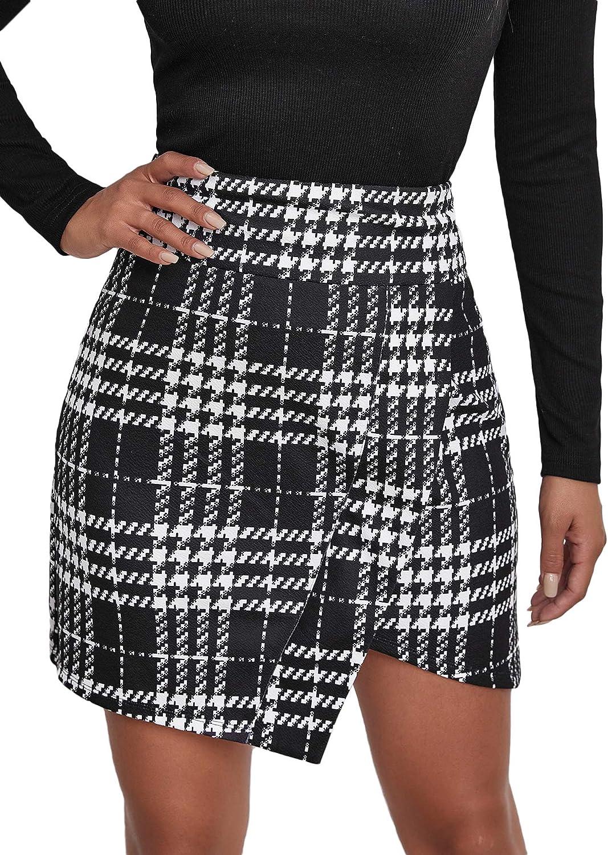 Floerns Women's Plaid Print High Waist Asymmetrical Hem Bodycon Mini Skirt
