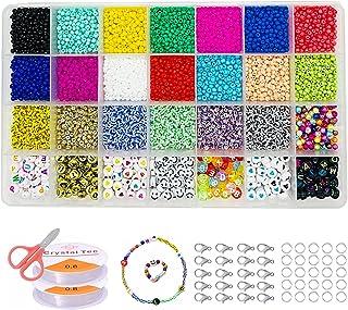Antter Glazen kralen om te rijgen, 3 mm mini-kralen voor armbanden 6500 stuks knutselparels zaden kralen armband maken kit...