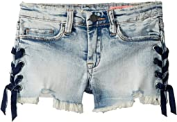 Blank NYC Kids Lace-Up Denim Shorts in French Braid (Big Kids)