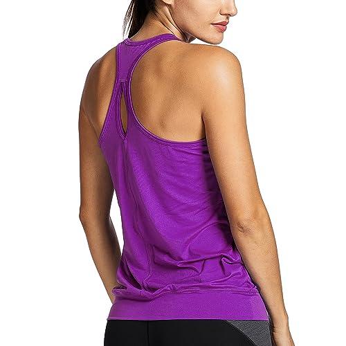 492529cd7a9a8 SYROKAN Women s Active Racerback Athletic Sports T-shirt Long Yoga Crop  Tank Top