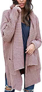 Women's Long Sleeve Shawl Neck Sweater Open Front Chunky Cardigan with Pockets