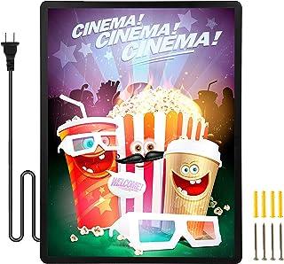 "Spolehli Led Poster Frame Movie Backlit Light Box Advertising Sign Holder 24"" x 36"" in Black, Wall Mounting, Aluminum Prof..."