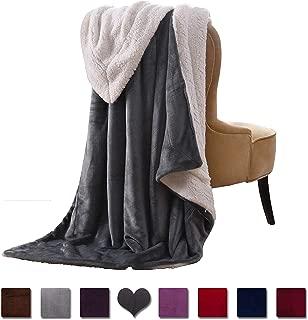 VOTOWN HOME Sherpa Blanket Throw Extra Soft Plush Blanket Cozy Warm Reversible Winter Blanket for Lap Micro Fleece Fabric, Grey Throw Size 50