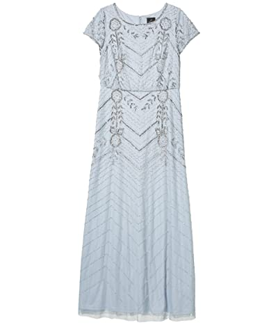 Adrianna Papell Long Beaded Blouson Evening Gown (Glacier) Women