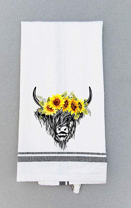Kitchen Tea Towel Cow And Sunflower Print Dish Towel Hand Towel