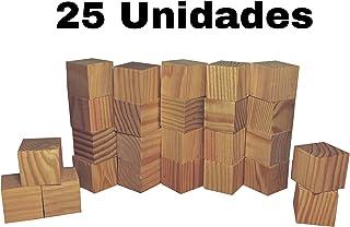 25 unidades de madera para manualidades cubos cuadrados de 4cm para pintar o decorar en madera sin acabar