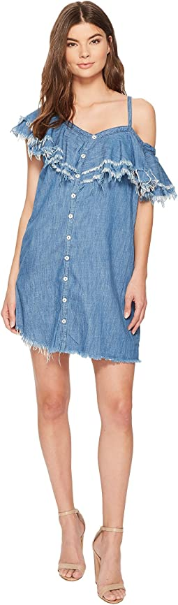Asymmetric Raw Edge Ruffle Denim Dress in Making Waves