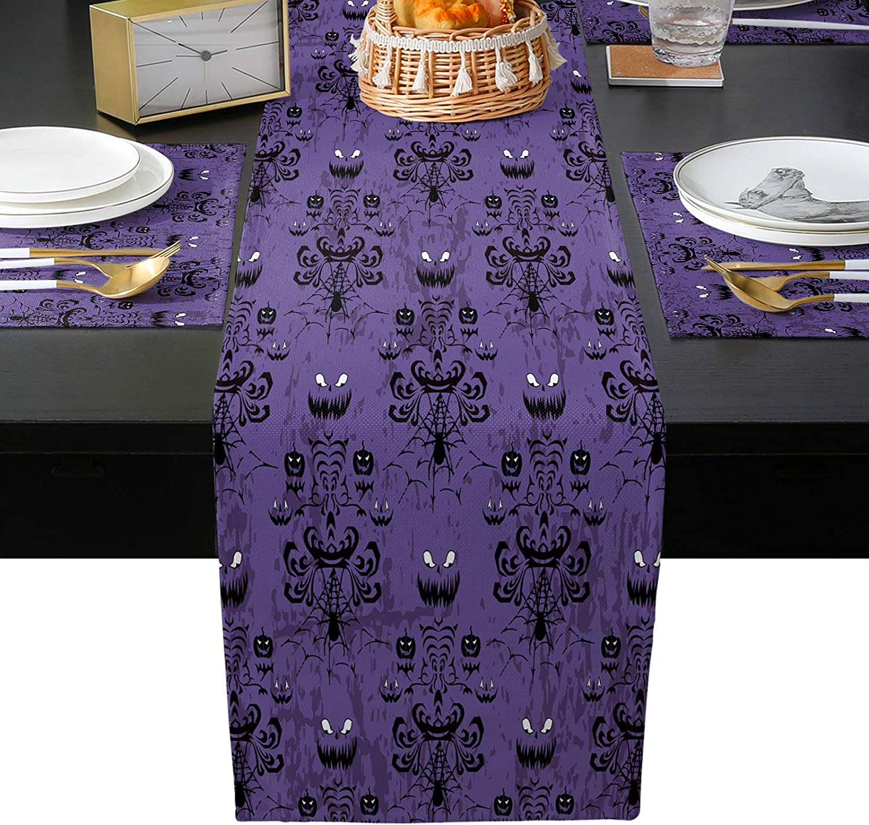 Halloween Haunted Sale SALE% OFF House Placemat Set of Choice 7 6 Purple Cotton Linen