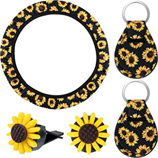 Sunflower Car Accessories Sunflower Steering Wheel Cover with 2 Pieces Cute Sunflowers Keyring and 2 Piece Car Vent Sunflowers (Black Background)