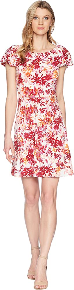 Flower Swirl Print Matte Jersey Dress