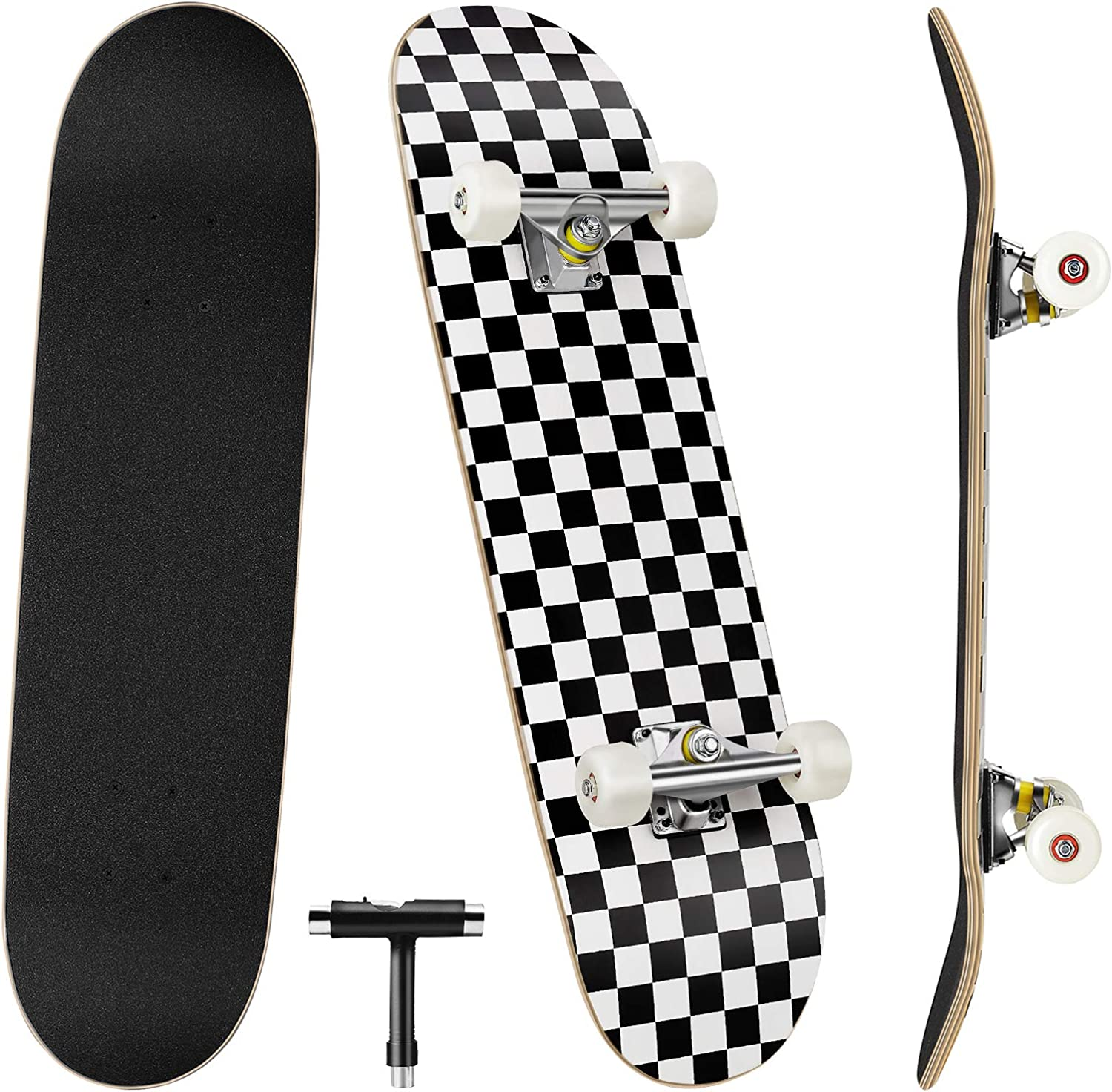 Skateboards, 31'' x 8'' Complete Standard Skateboards for Beginners with 7 Layers Canadian Maple, Double Kick Concave Skateboards for Kids Youth Teens Man and Women : Sports & Outdoors