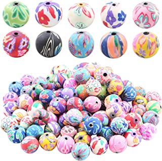 100 Pieces Colorful Pattern Polymer Clay Round Beads Ball Spacer Loose Beads for Jewelry Making DIY Crafts, Size : 12mm, Hole : 1.8mm