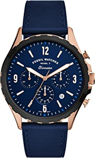 FOSSIL MENS FORRESTER CHRONO LEATHER BAND WATCH - FS5814