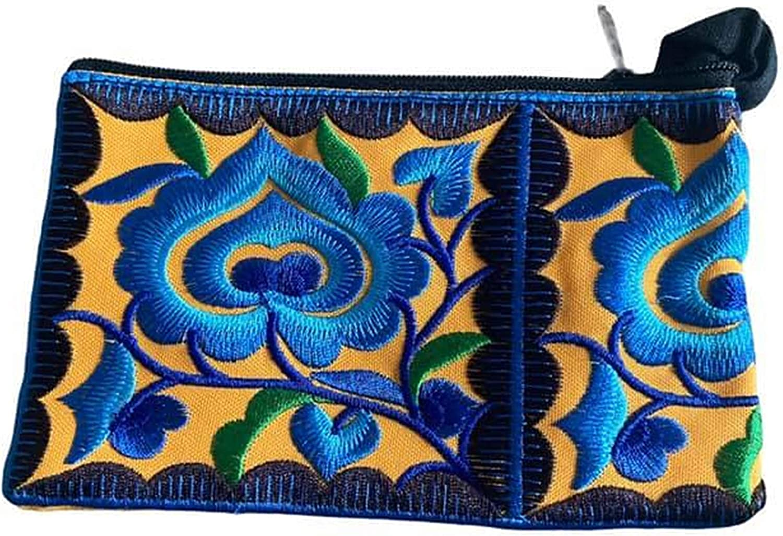 Mustard Floral Wristlet Wallet for Women - Small Handmade Hmong Purse Pouch