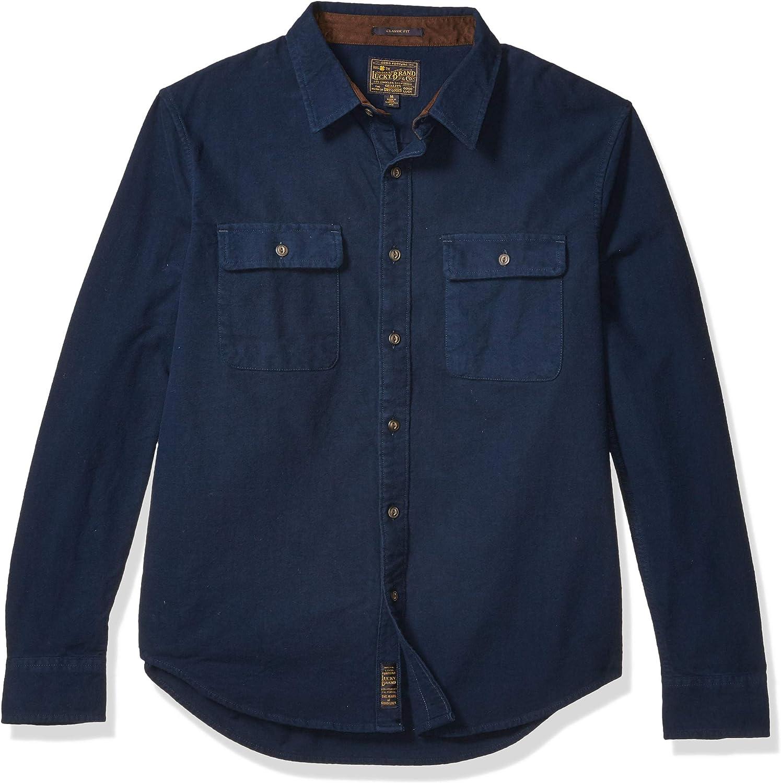 Lucky Brand Men's Long Sleeve Button Up Navy Humbolt Workwear Shirt