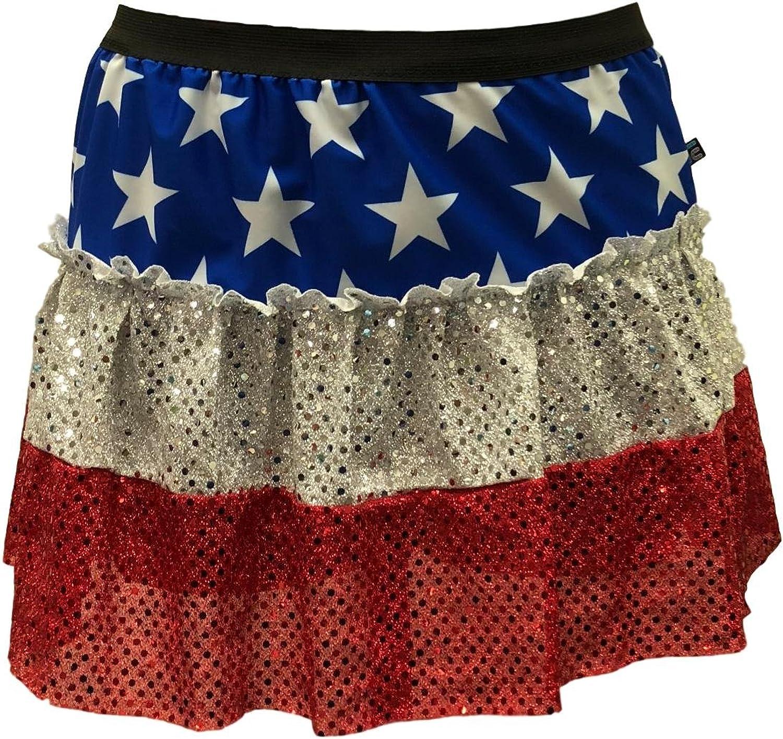 ROCK City Skirts   Women's Stars and Stripes Patriotic Sparkle Running Skirt   American Flag Running Costume
