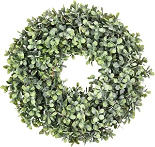 Sunm boutique Boxwood Wreath, 17'' Artificial Frost Spray Wreath, Green Leaves Wreath Round Wreath for Front Door Hanging Wall Window Wedding Party Decor