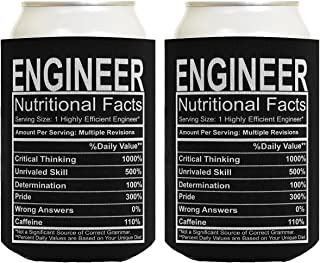 Engineering Gifts Engineer Nutritional Facts Engineer Gag Gifts Electrical Engineer Gifts 2 Pack Can Coolie Drink Coolers Coolies Black