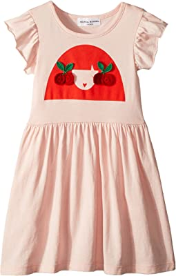 Sonia Rykiel Kids Ayal Dress w/ Cherry Rykiel Girl Design on Front (Toddler/Little Kids/Big Kids)