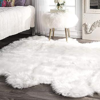 "nuLOOM Fluffy Faux Sheepskin Shag Area Rug, 5' 3"" x 6', White"