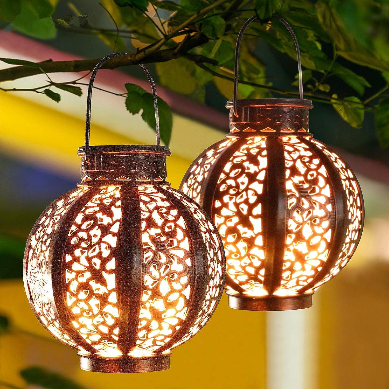 MAGGIFT 9 Pack Hanging Solar Lanterns Retro Solar Lights with Handle,  Outdoor Solar Garden Lights Decor for Yard Tree Fence Patio 9 Lumens, Brown