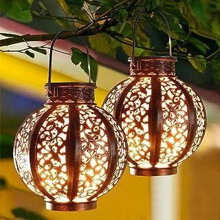 MAGGIFT 2 Pack Hanging Solar Lanterns Retro Solar Lights with Handle, Outdoor Solar Garden Lights Decor for Yard Tree Fenc...