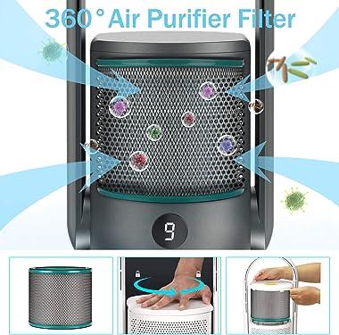 ULTTY Bladeless Tower Fan and Air Purifier in one, True HEPA Filter 99.97% Smoke Dust Pollen Dander, Oscillating Tower Fan wi