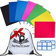 PerfectCover 7 Stretchable Book Covers - Multiple Colors Durable, Washable, Reusable and Protective Jackets for Hard Cover Schoolbooks and Textbooks