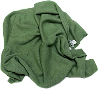 100% Cashmere Baby Blanket, 4 Ply Mongolian 26/2 Yarn Cashmere, Hand-Knitted, Green © Moksha Cashmere