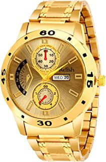 Relish Golden Chain and Dial Analog Wrist Watch for Mens