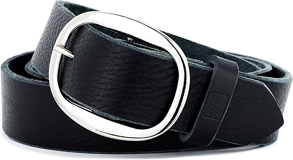 Naleeni Womens Black Leather Belt Soft with Buckle Options. Made in USA 1.5 In Wide
