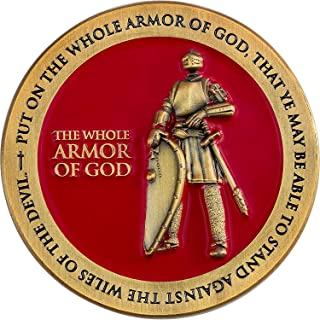 Armor of God, Christian Challenge Coin for Bible Study, Youth Groups, Handout for Teens, Religious Antique Gold Plated Pra...