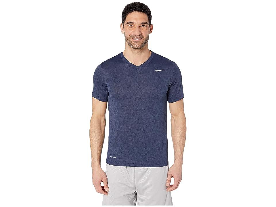 Nike Legend 2.0 Short Sleeve V-Neck Tee (Obsidian Heather/Matte Silver) Men