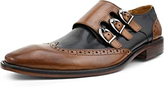 Asher Green AG118 - Men`s Dress Shoes - Genuine Leather Shoes for Men, Formal Mens Shoes - Two-Tone, Wingtip, Triple Monk Strap
