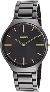 Rado - True Thinline R27741172 - Reloj para hombre (38 mm, caja de cerámica negra, cristal de zafiro y cristal de zafiro)