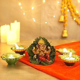 TIED RIBBONS Ganesh Statue with Handmade Diyas- Diwali Decoration Item and Diwali Gifts