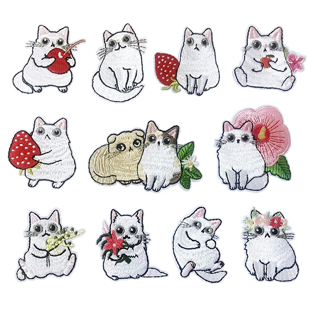 Iron On Patches Embroidered Appliques DIY Decoration or Repair,Sew On Patches for Clothing Backpacks Jeans Caps Shoes etc Cats Set