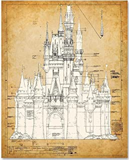 Cinderella's Castle - 11x14 Unframed Blueprint - Makes a Great Gift Under $15 for Disney Fans