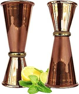 Rastogi Handicrafts Double Jigger Cocktail Shot Glasses. 2 Mix Perfect Craft & Classic Drinks Excellent Set of 2