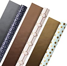 Hallmark All Occasion Reversible Wrapping Paper (Modern Metallics, Pack of 3, 120 sq. ft. ttl.) for Mothers Day, Birthdays...