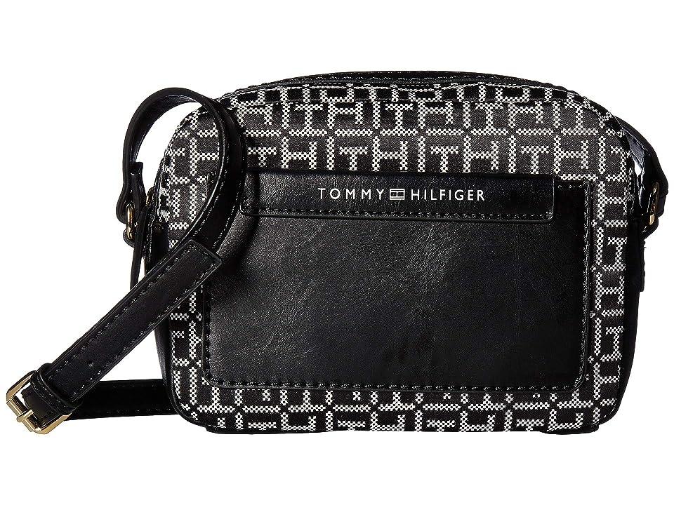 Tommy Hilfiger Jackie Camera Crossbody (Black/White) Handbags