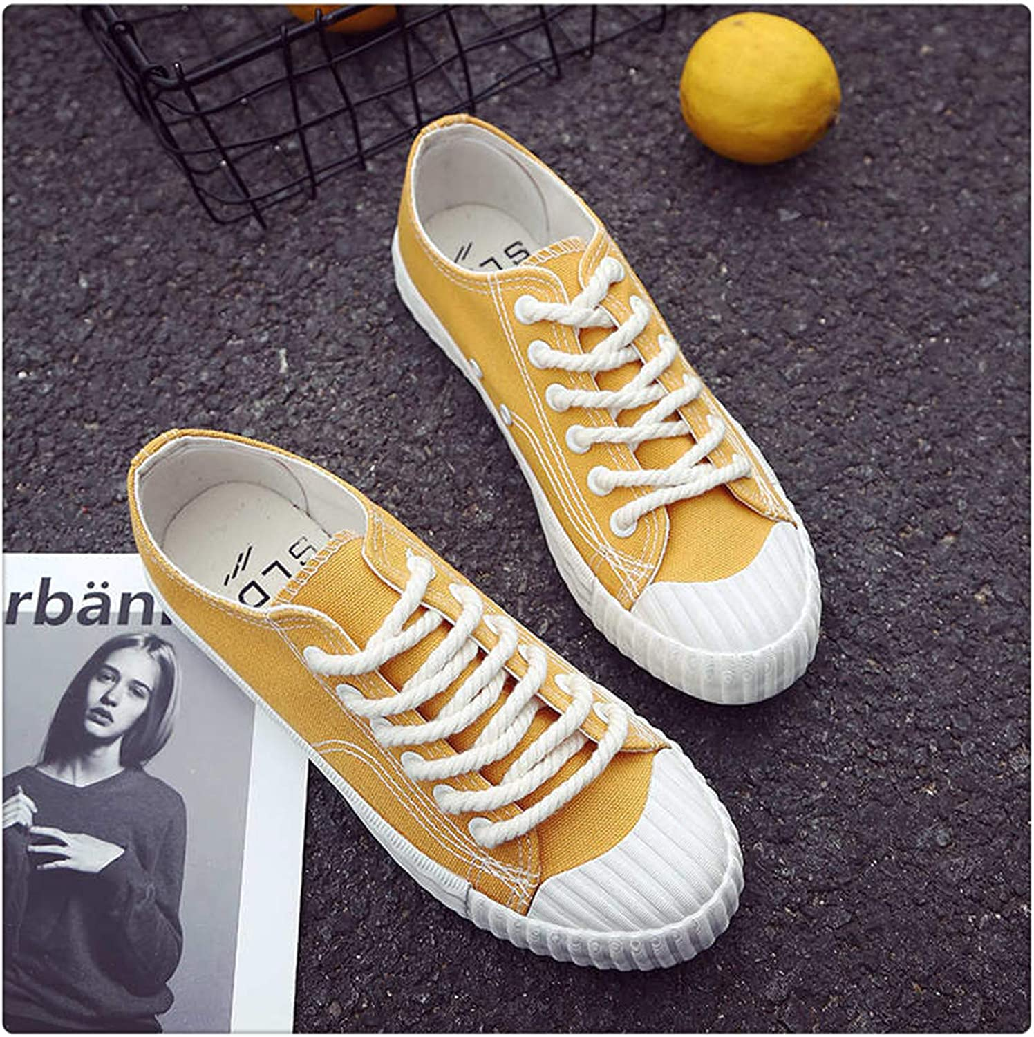 QUGKOP& Candy color Vulcanize Canvas shoes New 2018 Fashion Women Sneakers Casual shoes Breathable Platform Lace Up Trainers Spring Yellow 8
