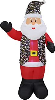 8 Foot Tall Lighted Christmas Inflatable Patriotic Military Santa Claus Yard Art Decoration