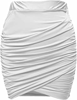 Women Wrap Runched Stretch Draped Mini Pleated Bodycon Pencil Skirt