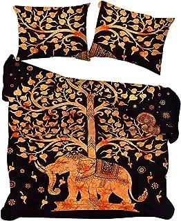 Marusthali Tree of Life Tie Dye Funda nórdica con Fundas de Almohada Funda de Funda nórdica Reversible de Donna de la India. Colcha de Cama Bohemia en una Bolsa con sábana