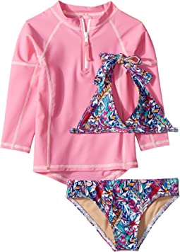 Funky Feathers Bikini & Pink Rashguard Set (Infant/Toddler/Little Kids/Big Kids)