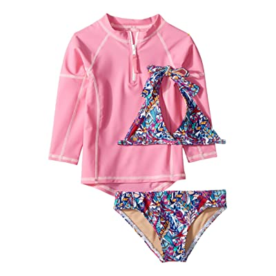 Toobydoo Funky Feathers Bikini Pink Rashguard Set (Infant/Toddler/Little Kids/Big Kids) (Pink) Girl