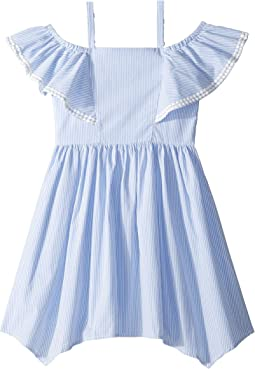 Yarn-Dye Stripe Off the Shoulder Dress (Big Kids)