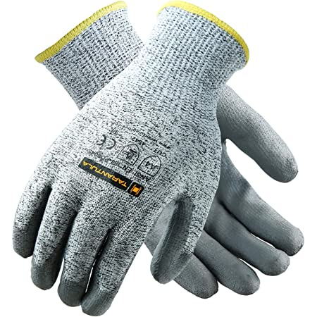 JORESTECH Safety Work Gloves Grey HPPE Knitted Fiber with Black Nitrile Sandy Finish Coating EN-388 Level 5 One Pair GD-03 Size 8-M